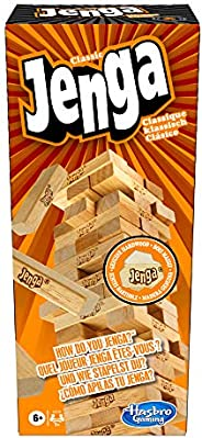 Hasbro Jenga Classic, children's game that promotes the speed of reaction, 2+ Game Players, 54 hardwood JE