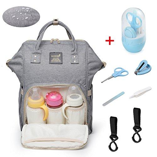 Baby Wickelrucksack Wickeltasche mit 2 Kinderwagenhaken - Multifunktion wasserfeste Oxford Babytasche - Groß Kapazität Isoliert Taschen Rucksack für Reise Reisetasche für Babykleidung (Grau) -