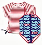 Snapper Rock Girl UPF 50+ UV Sun Protection Two-Piece Set Short Sleeve Swim Shirt & Swimsuit For Kids & Teens