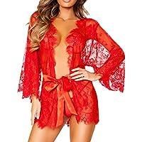 Conjunto de lencería de mujer Babydoll Ropa de dormir sexy Ropa interior Abrigo de encaje Ropa de dormir + tanga Amlaiworld (Rojo, L)