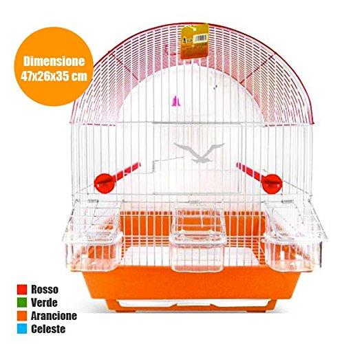 Jaula arco de metal con accesorios para pájaros, canarios, periquitos