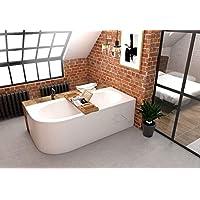 ECOLAM Baignoire de coin en acrylique asymétrique Avita 180x80 cm droite, blanc, habillage en acrylique et étagère en…