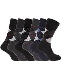 Calcetines casuales con estampado a rombos hombre caballero (Paquete de 6)