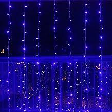 SOLMORE 3m x 3m 300 LED Lichterkette Vorhang Licht Schnur Eiszapfen Eisregen für Innen Weihnachten Party(Blau)