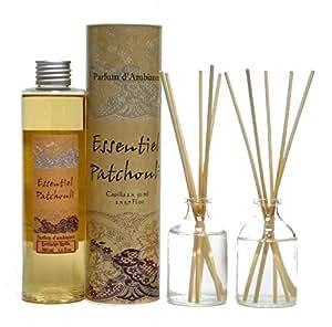 Provence et Nature: Diffuseur de Parfum avec Tiges, 2 x 50ml & Recharge, 200ml (Set) - Parfum: Essentiel Patchouli