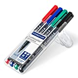 Staedtler 313 WP4 Lumocolor Universal Permanent Superfine Pens - Assorted Colours, Pack of 4
