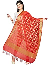 Rani Saahiba Art Katan Silk Zari Woven Dupatta ( SKRDD1282_Red )