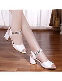 Damen Sommer Sandalen Mode Wies High Heel Flip Flop Wildleder Wild Fein mit, Weiß, 38