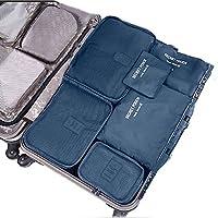 SZTARA Travel Organisers Essential Bags-in-Bag Travel Storage Waterproof Nylon Drawstring Dry Bag Clothes Suitcase Luggage Storage Bags Set of 6 BIG SPACE Blue