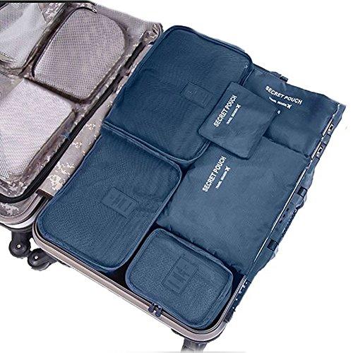 SZTARA Reise-Ordnungssystem für Koffer, wasserdichte Beutel zur Gepäckaufbewahrung, Nylon, mit Kordelzug, hält Reisegepäck trocken, 6Stück, platzsparend , königsblau (Blau) - Mtarashop-mp1129Z (Dessous-lösungen)