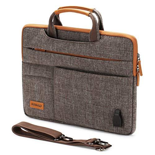 """DOMISO 10,1-10,5 Zoll Wasserdicht Laptop Tasche Aktentasche Tragetasche Schultertasche mit USB Ladeanschluss für 9.7\"""" Samsung Galaxy Tab / 9.7\"""" iPad Pro / 10.1\"""" Lenovo Tab 4 10 Plus/Asus/HP, Braun"""