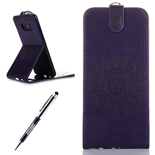 JAWSEU Coque Etui pour Samsung Galaxy S8,Samsung Galaxy S8 Leather Case with Strap,Samsung Galaxy S8 Etui en Cuir Folio Flip Wallet Cover Case,2017 Neuf Style Femme Homme Up and Down Unlock Holster Rabat Portefeuille étui Beautiful Luxury Une Fleur Relief Motif Ultra Slim Mince Pure Pu Stand Coque Coquille Housse avec Magnetique Closure,Flexible Souple TPU Inner Case Cover+1*Noir Stylo Paillettes-violet