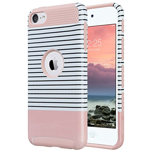 ULAK iPod Touch 5 Hülle, iPod Touch 6 Hülle Dual Layer Hybrid Schutzhülle Hart PC + TPU Weiche Stoßfest Tasche Case Cover für Apple iPod Touch 5/6th Generation (Minimal Stripes Roségold) (Pink Fall Touch Ipod)