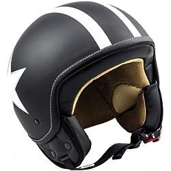 SOXON SP-301-STAR Black Casco Demi-Jet Chopper Cruiser Biker Mofa Helmet Urbano Bobber Vintage Retro Scooter Piloto Moto Motocicleta Urban Vespa, ECE Certificado, Incluyendo Bolsa de Casco, Negro/Blanco, S (55-56cm)