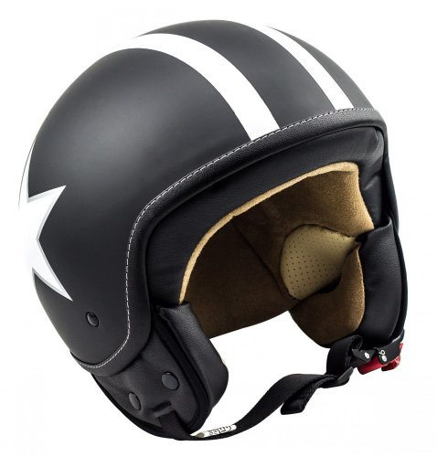 SOXON SP-301-STAR Black Casco Demi-Jet Chopper Cruiser
