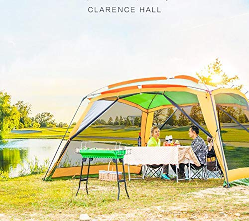 enoche Zeltpavillon Deluxe 365x365x215cm für Festivals, Garten und Camping, stabile Stahlstangen Konstruktion, großes Eventzelt mit Sonnenschutz LSF 50+