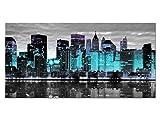 Exklusives Glasbild EG4100500894 NEW YORK SKYLINE TÜRKIS 100x50cm STÄDTE Motiv hinter 4mm Sicherheitsglas! INKL. AUFHÄNGESYSTEM (Haftbleche & Abstandhalter) / HANDMADE / WOHNZIMMER BÜRO / LIFESTYLE FERTIGBILD!