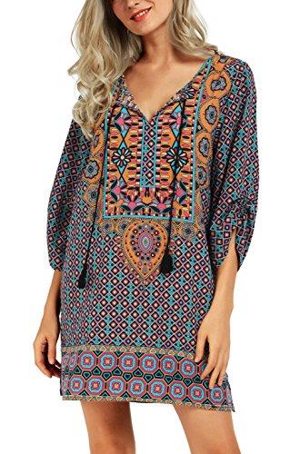 Urbancoco Damen Vintage Bohemian Strandtunika Sommerkleid Tunikakleid Bluse (XXL, Pattern I)