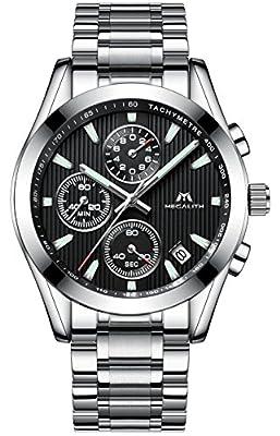 Relojes Hombre Acero Inoxidable Relojes de pulsera de Lujo Moda Cronometro Impermeable Fecha Calendario Analogicos Cuarzo Reloj Cronógrafo Negocio Casual Diseño con Dial Negro Correa de Plata