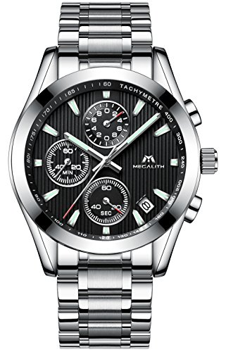 Herren Uhren Edelstahl Chronograph Sport 30M Wasserdicht Luxus Design Datum Kalender Armbanduhr für Männer Geschäfts Beiläufig Kleid Analog Quarz Uhr mit Schwarz Zifferblatt Silber Uhrenarmband