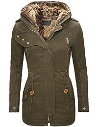 cb90d714aff0e7 Rock Creek Selection Damen Baumwoll Winter Parka Mantel Teddyfell  gefütterte Jacke lang Beige Schwarz Khaki-Grün D…