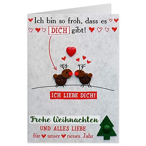 Sheepworld - 90491 - Klappkarte, mit Umschlag, Weihnachten, Nr. 48, Knopfkarte, Ich bin so froh, dass es dich gibt!
