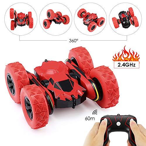 GBlife Ferngesteuertes RC Auto Spielzeug Auto 2,4 GHz 360° Drehung RC Racing Buggy Spiegeln Doppelseitiges Fahren High Speed Stunt Autos Spielzeug Geschenke für Kinder ab 8 Jahre Alt (Rot)