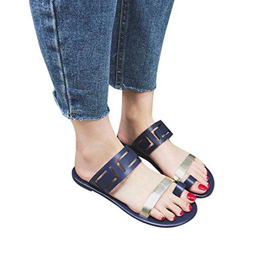 Btruely Sandalen Damen Sommer Hausschuhe Frauen Strandschuhe B?hmen Schuhe Flip-Flops Vintage Slipper Flat Sandaletten Flach Zehensandale Sandalen Outdoor Schuhe