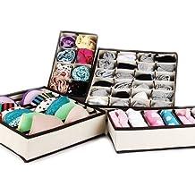 Gearmax® 4pcs Nonwovens intimo ordinata pratico Box calze pantaloncini cassetto legami Storage Organizer custodia(Beige)