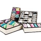Itian 4 Stücke Verschiedene Größen Faltbare Nichtgewebte Bra Unterwäsche Socken Krawatten Divider Aufbewahrungsboxen - Beige