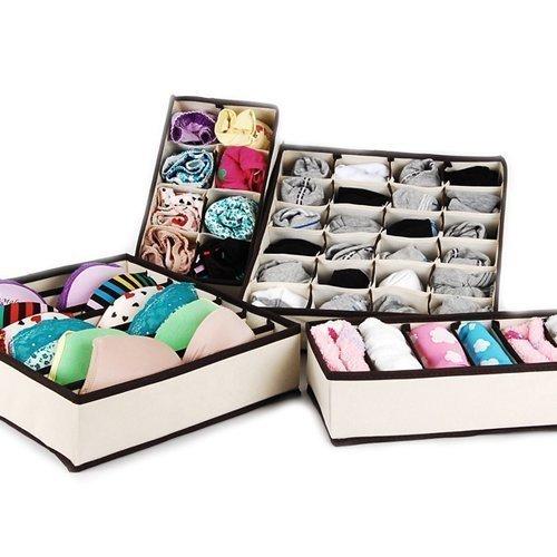 Preisvergleich Produktbild Gearmax® Schublade Schrank Organizer BH Unterwäsche Aufbewahrungsboxen (Beige,Set von 4)
