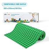 Fansteck Bauplatte für DUPLO, Selbstklebende Große Bauplatte, Sillikon Grundplatte für Große Bausteine 25.6 x 50 cm, mit Allem Großen Marken Kompatibel, Grün