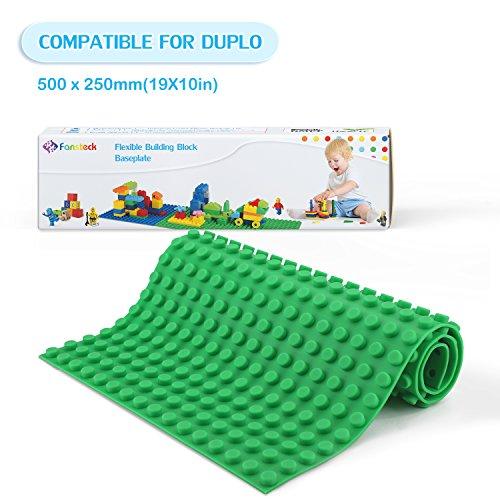 Fansteck Bauplatte für DUPLO, Selbstklebende Große Bauplatte, Sillikon Grundplatte für Große Bausteine 25.6 x 50 cm, mit Allem Großen Marken Kompatibel, Grün - Grundplatten Großen Lego