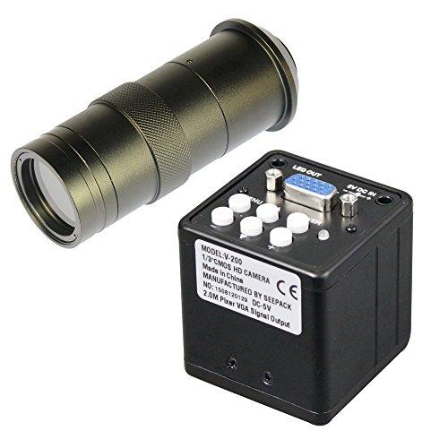 HD 2.0MP fotocamera VGA microscopio digitale per industria video ispezione & 100x C-Mount obiettivo zoom