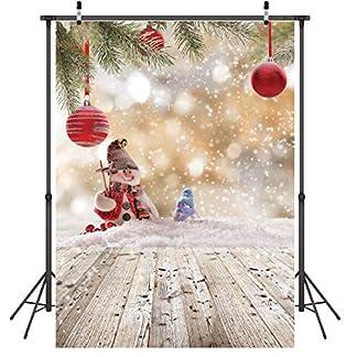 LYWYGG 5x7FT Fondo de Feliz Navidad Muñeco de Nieve de Navidad Piso de Madera Fondo de Foto Fondo de Copo de Nieve Blanco Decoración de Navidad Fondo de Fotografía de Invierno CP-79