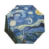 ALAZA Pittura Notte stellata di Van Gogh Oil Viaggi Auto Open/Close Ombrello con anti-UV antivento leggero