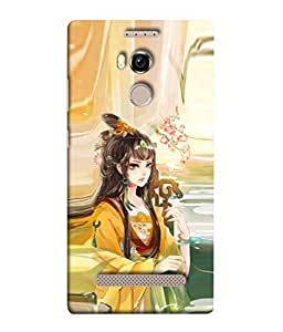 PrintVisa Designer Back Case Cover for Gionee Elife E8 (Beautiful Young Attractive Graphic Female Modern Green)