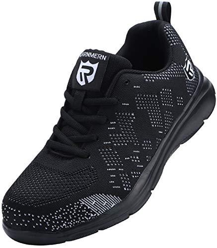 Zapatillas de Seguridad Mujer/Hombre DY-112, Zapatos de Trabajo con Punta de Acero Ultra Liviano Suave y cómodo Transpirable, Negro Blanco, 38 EU