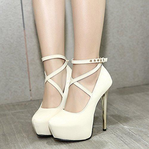 GS~LY Cadeau de fête des mères Cross Bandage High heels White