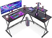 """ACPLAY L-Shaped Desk Computer Corner Table, 50.8"""" Home Gaming Desk, Office Writing Workstation with Large"""