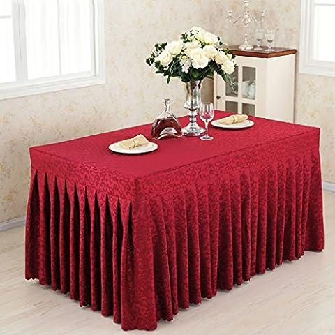 Fitted Table Skirt Cover Banquet de mariage avec topper Top Topper - vin crochet rouge fleurs ( Couleur : Vin rouge , taille : 60*240*75CM )
