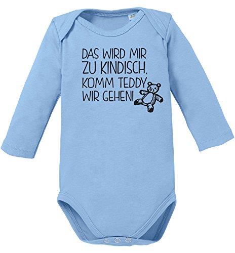 isch. Komm Teddy wir gehen! - Bio Baby Langarmbody (Lustigen Erwachsenen-strampelanzug)