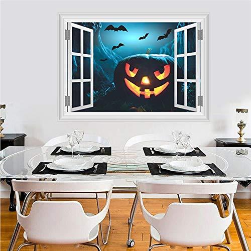 Halloween Kürbis Laterne Fliegende Fledermaus Wandaufkleber PVC 3d Lebendige Fenster Wandtattoo Wand Kunst poster Haunted Home ()