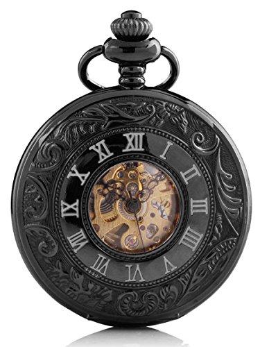 Alienwork Retro orologio da tasca meccanico Scheletro automatico inciso Metallo verde nero WDG006-01