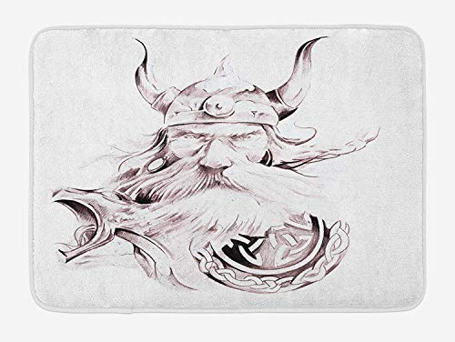 5893c94d7a8b CHKWYN Tattoo Bath Mat, Wise Old and Brave Viking Warrior with His Long  White Beard and Armour Print, Plush Bathroom Decor Mat with Non Slip  Backing, ...