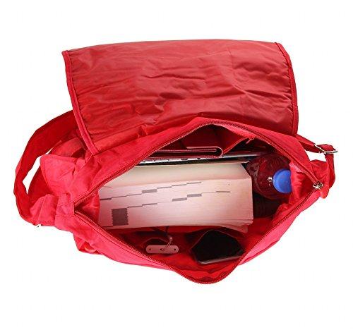 OBC design italiano Unisex Erw. & Bambini Borsa Tracolla Casual Shopper Borsa a tracolla - Nero 39x23x9 cm, ca 39x23x9 cm (BxHxT) Red V2