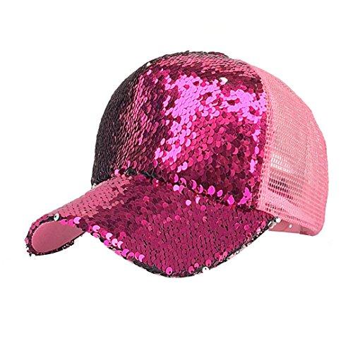 ZARLLE Gorra De BéIsbol Hombres Mujeres Sombreros Las Tendencias De La Moda Hip Hop BéIsbol Lentejuelas Brillantes Snapback Hat Sol Gorras Ajustable Baseball Cap Hat (talla única, Rosa caliente)