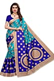 Yashika Women's Art Silk Kalamkari and Bhagalpuri Saree with Blouse Piece (Blue)