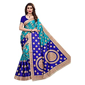 Yashika women's art silk kalamkari and bhagalpuri style saree with blouse piece and soft feel (kora)