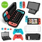 Nintendo Switch Zubehör Set - Younik Beinhaltet Switch Ant Pattern Case / 24+2 Game-Card Case / 6 in1 Silikon Case / TPU Schutz-Case / Verstellbarer Standfuß / 2 Stück HD Displayschutzfolie(17 in 1)